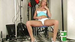 Blond girl's sweet pussy vibrator tested