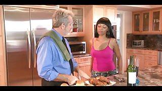 Amazing ebony babe pleasures an older guy