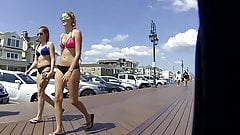 Tall Blond Bikini Not Teen Walking with Not Mom (Front Only)