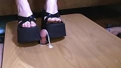 cock crushed and milked under 2 platform flip flops!