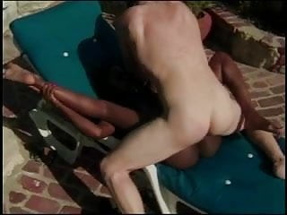 Hot brunette takes a big thick cock in her mouth and pussy outside