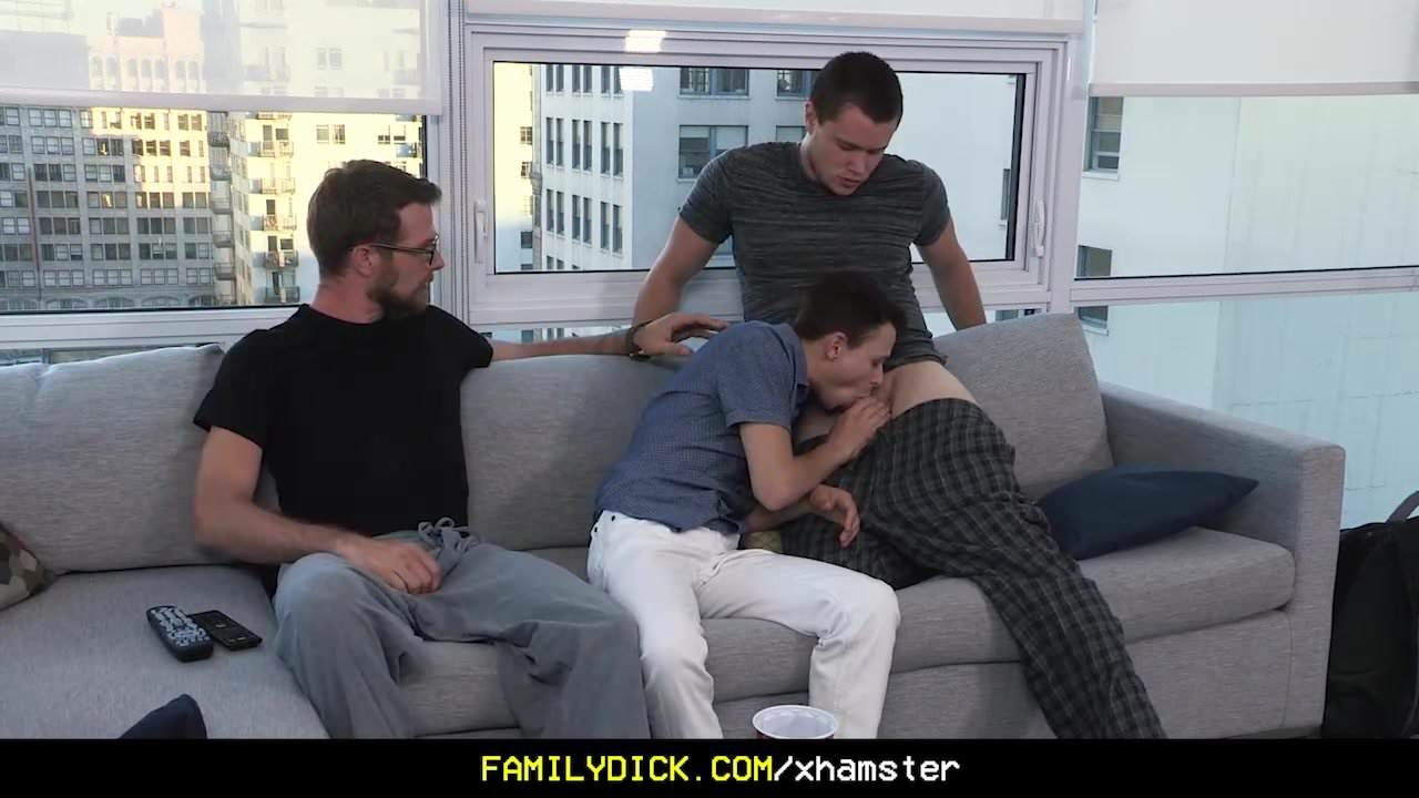 Sexy stepdad and older brother fucked a younger twink