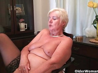 Year Old And British Granny Sandie Rubs Her Old Pussy