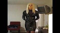 PatsyPVC transvestite fetish slut in a tight PVC dress..