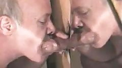 old daddy sucking and cumming at the gloryhole