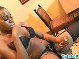 Bigbooty ebony wanking her swollen cock