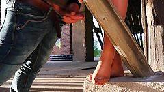 Voyeur Foot action with nylon feet of a horny milf