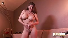 Busty, long-haired MILF gives a hot titfuck and gets creampi