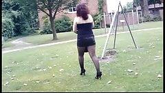 Walking in High Heels and nylon