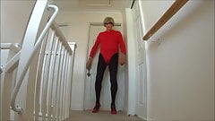 Red Lleotard and Black Tights