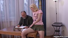 His young blonde wife rides another man's cock