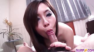 Nan Oshikiri works cock in both her tight Asian holes