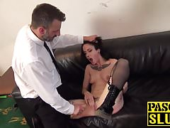 Lilyan Red spanked, choked and fingered while masturbating