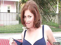 WANKZ- Busty Brunette Goddess Fingers By Pool
