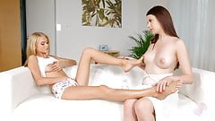 Nancy A and Rebecca Volpetti in Foot fantasies lesbian