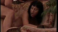 Sexy brunette milf fucked by two men with long fat dicks