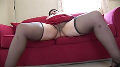 Mature busty BBW shows off big ass and hairy pussy upskirt