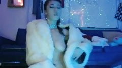 White rabbit fur coat -webcam