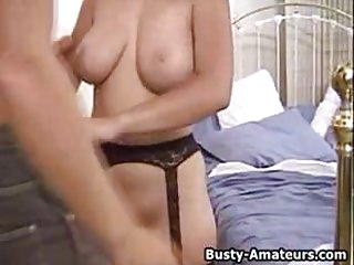 Busty milf Serena sucking and riding on cock