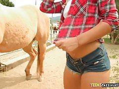 Freaky Teen gets a Big Dick on the farm