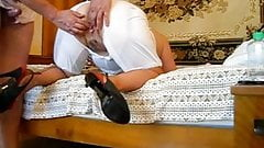 Pushuna's fucking ass and riped white pantaloons