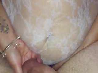 Pegging my hubby with great cum shot.