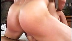 Brunette in FMM threesome fuck session