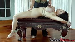 Curvaceous lesbian Asian anal play and toying in bondage