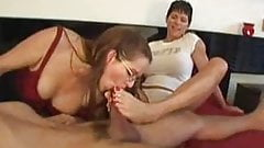 MILF double footjob and blowjob