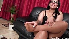 Nylon footjob handjob cumshot by an Arab slut