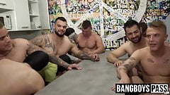 Handsome hunky gays suck cock and fuck in hardcore orgy
