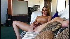Chick using a dildo to get  off