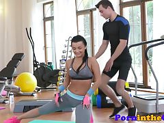 Gym babe doggystyle fucked by trainer