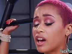 Pink hair ebony babe toys pussy with dildo Thumbnail