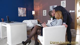 Dane Jones Redhead office secretary in stockings and heels