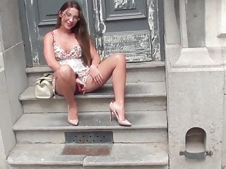 JULIE SKYHIGH BELGIAN SLUT SHOWS HER PUSSY IN THE STREET