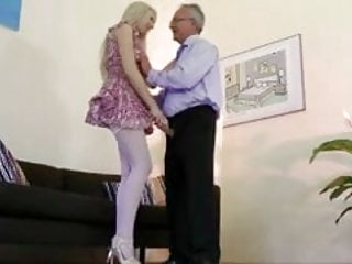 Horny blonde babe gets pussy fucked form this old guy