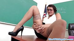 Spex teacher toys pussy and squirts in class
