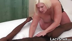 Granny sucks brown dick after getting her titties sucked on