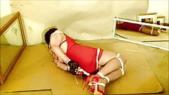 Bondage Slut Gina Ropeburn in Nipple Clamp Hogtie