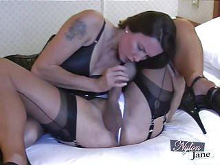 Nylon Jane sucks amazing big cock before fuckin TGirl ass