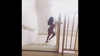 Naked Ebony Hotel Streaker