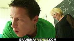 Two boys screw old hairy granny teacher on the floor