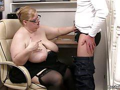 Mega-tits fatty takes it from behind Thumbnail