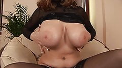 EU Babe in Black Stockings Rubs Big Tits Toys Her Pussy