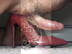Red Leather Stilettos Hump and Cum