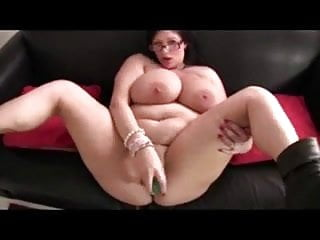 BBW with big boobs & black boots masturbates