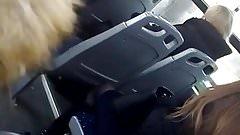 Spy nylon legs in public bus