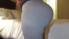 Ms. Cakes'  jiggly booty in grey leggings