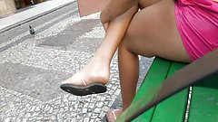 Street Girl barefoot feet in flip flops dirty soles